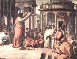 St. Paul Preaching at Athens - by Raphael